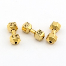 Hot !  10pcs Antique Gold Live Lift Dumbbell Spacer Beads 7x 20mm DIY Jewelry fit Bead Bracelet