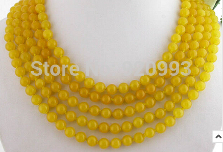 FREE SHIPPING>>>@@ > Wholesale&FREE P&P**100 8mm 100% nature round yellow stone bead necklace free shipping 100 page 1