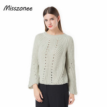 Misszonee Women Pullover Sweater 2017 Winter New Brand Fashion Warm Pullovers High Quality 3 Colors pull femme Comfort Soft tops