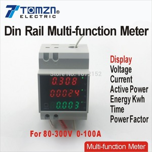 Din Rail Led Ac 80-300V 0-100.0A Voltmeter Ampèremeter Display Actief Vermogen En Power Factor Tijd Energy Meter spanning Stroom