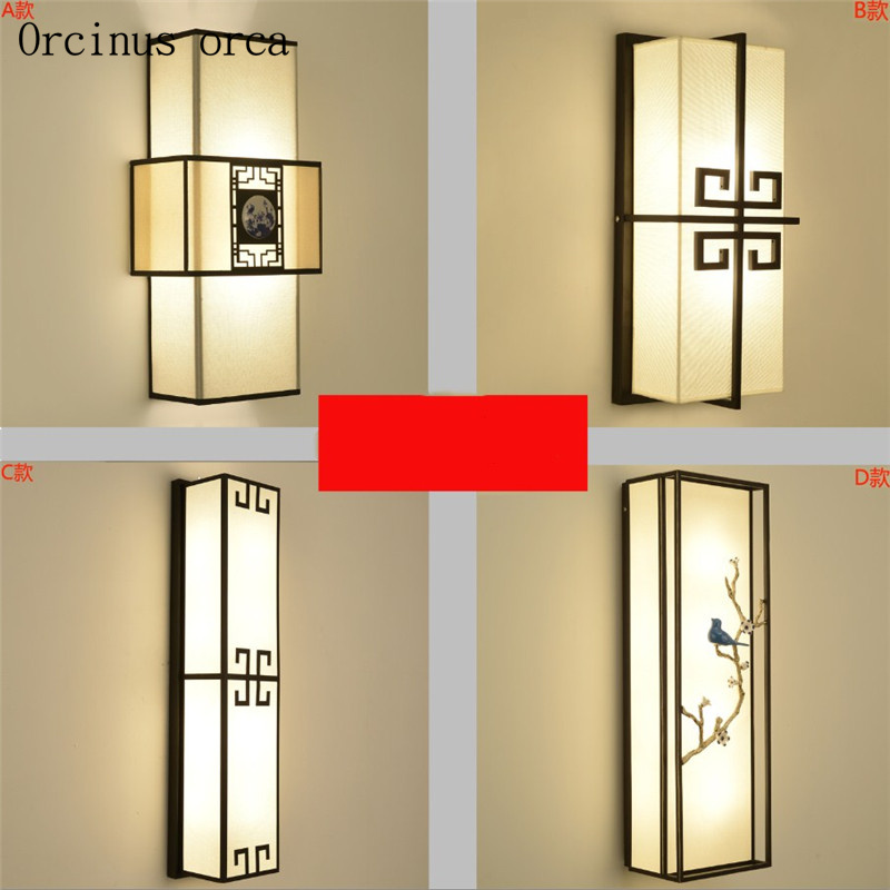 New Chinese antique wall lamp Hotel living room aisle bedroom bedside lamp Chinese style creative classical square wall lamp|LED Indoor Wall Lamps| |  - title=
