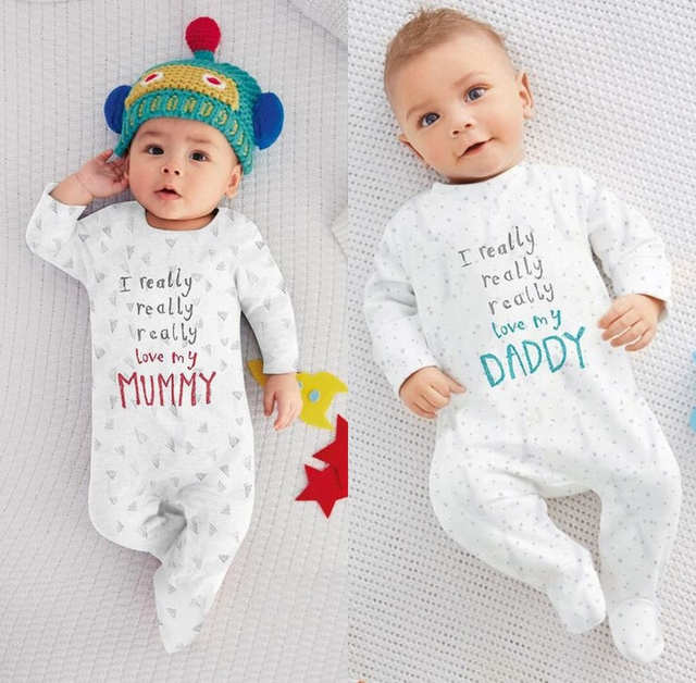 6ffdfda897dc Online Shop Hot Newborn Baby Boy Girl I love Mum Dad Cotton Autumn ...