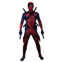 2019 Deadpool Costume Adult Man Spandex Lycra Zentai Bodysuit Halloween Cosplay Suit Belt Headwear Mask Sword holster