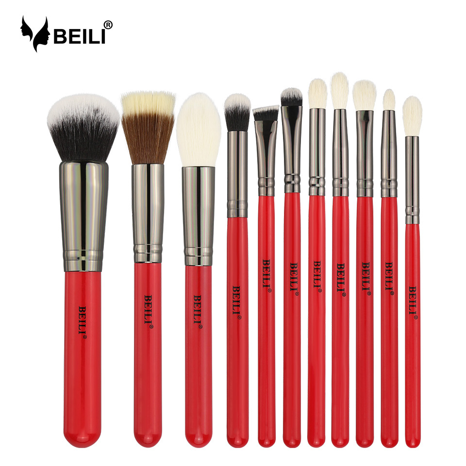 BEILI Red 11pcs Professional Makeup Brushes Set Natural Goat Hair Cosmetics Eyeshadow Powder Concealer Highlight Foundation fashion 10pcs professional makeup powder foundation blush eyeshadow brushes sponge puff 15 color cosmetic concealer palette