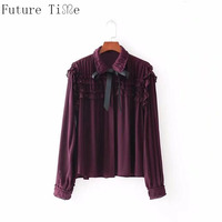 Future Time Women Long Sleeve Bow Sweet Lace Solid Blouse Autumn Female Elegant Purple Casual Shirt