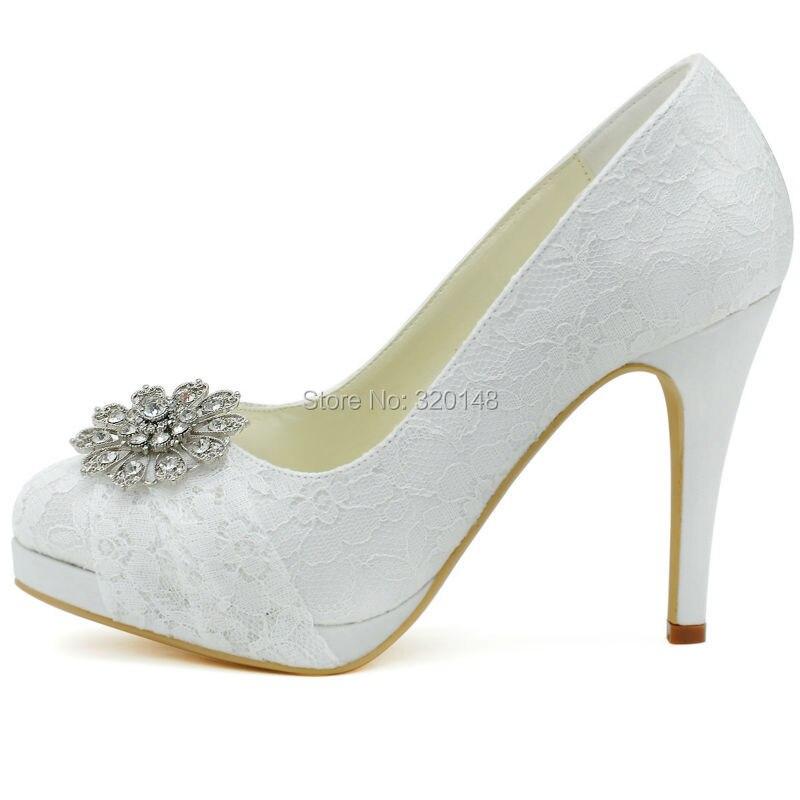 404148724e2 HC1413P Woman Wedding Shoes White High Heel Platform Closed Toe ...