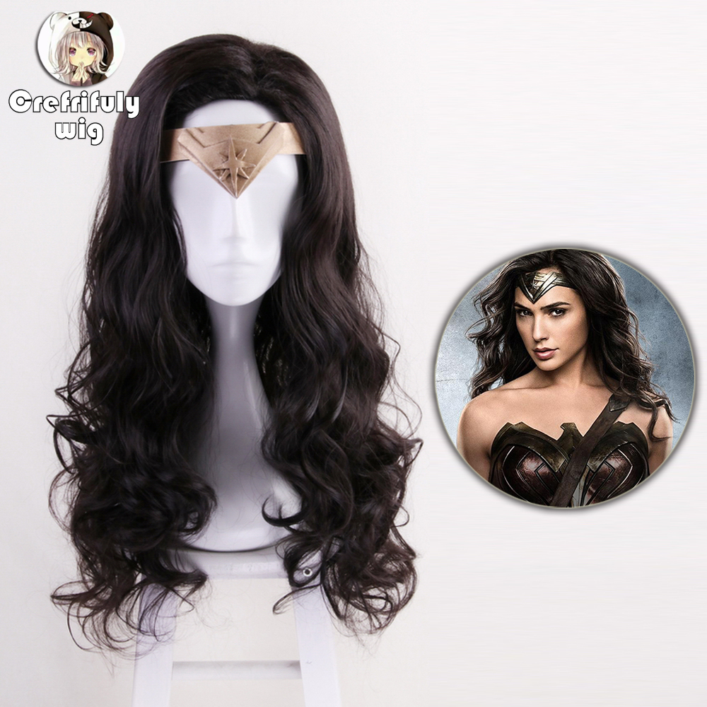 60cm Princess Diana Wonder Woman Cosplay Wig Black Long Curly Synthetic Hair Halloween Costume Party Wigs + cap