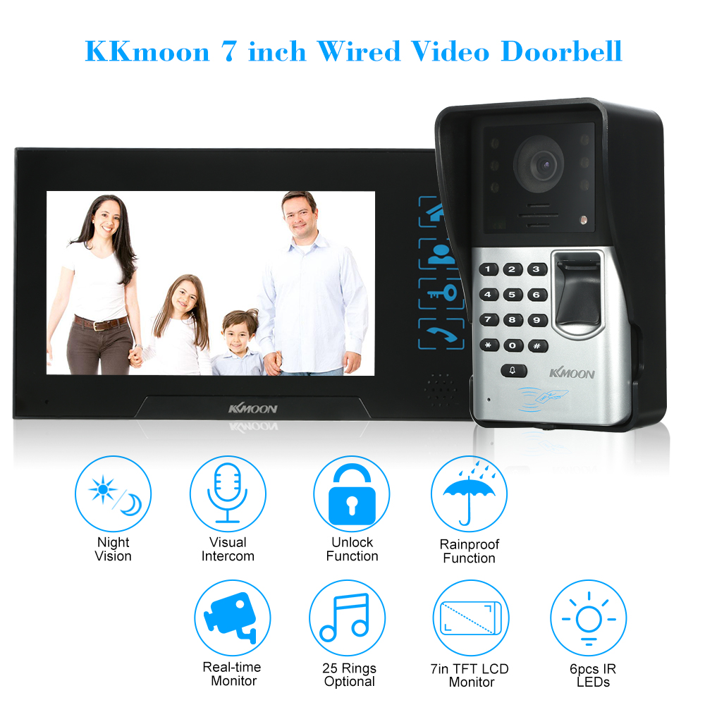 KKmoon 7 inch Wired Video Doorbell Visual Two way Audio Fingerprint Rainproof IR CUT NightVision Remote