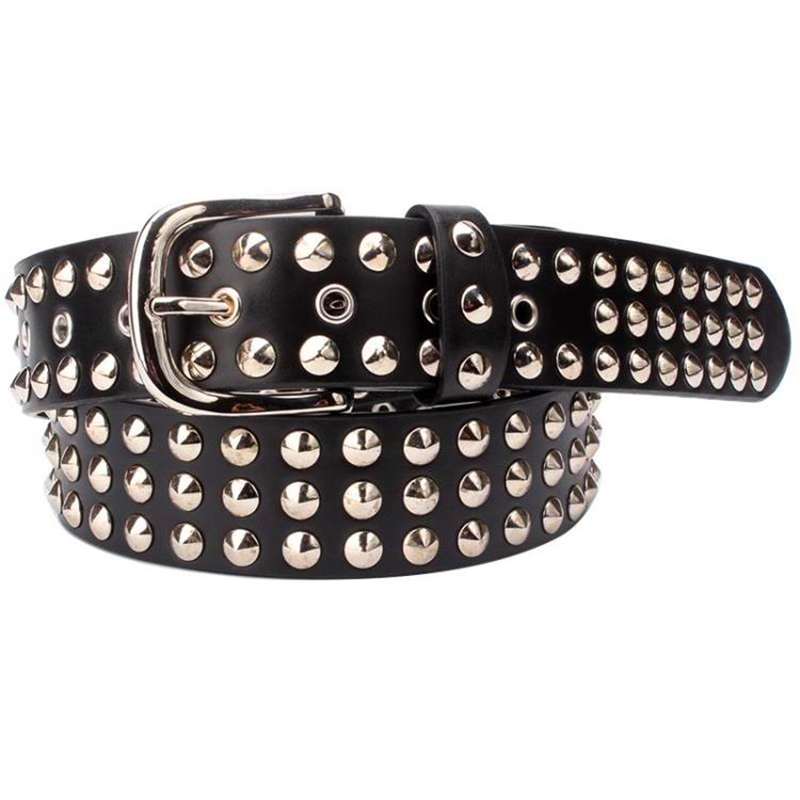 Big Metal Rivet Belt Women Round Rivets Spike Sequins Belt Punk Simple Decorative Waistband Belt For Men