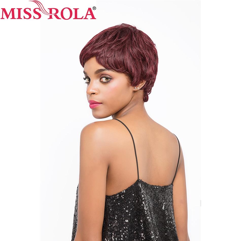 Мисс Рола волос Бразильский прямые волосы короткие парики человеческих волос # 99j для Для женщин парики 360 Полный с волос Бесплатная доставк...