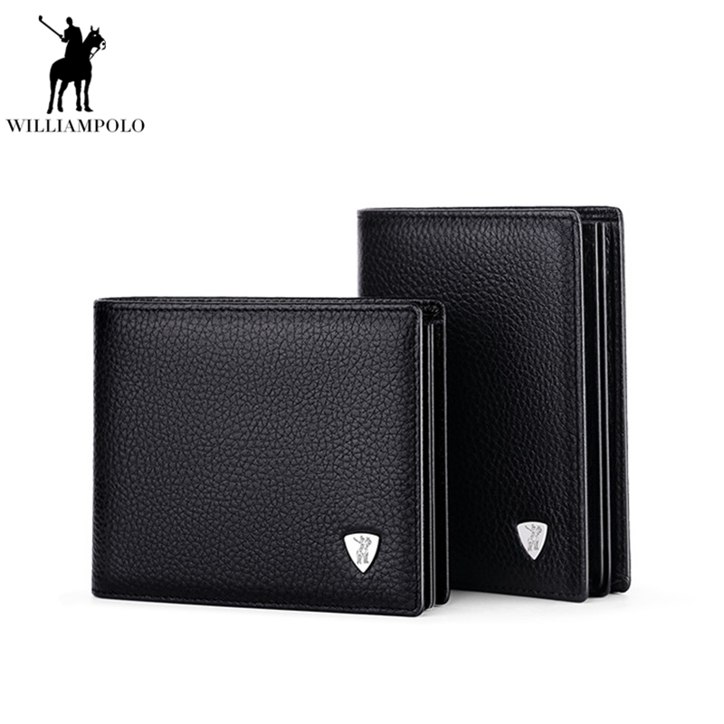 New Arrival WILLIAMPOLO 100% Leather Original Brand Casual Small Wallet Men Buy One Get One Loose Driving Lisence Holder PL213