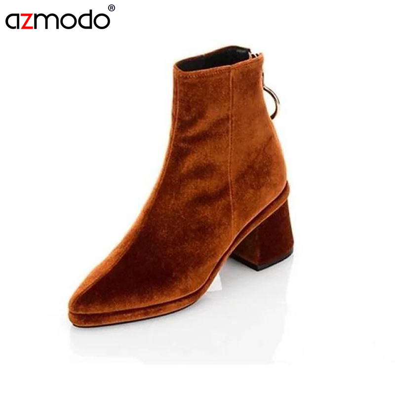 Velvet Boots Pointed Toe Women Boots women's fashion winter shoes woman Thick Heels Bota Feminina mancuello Zapatos Mujer fashion white silver boots women punk boot shoes woman 2018 spring super cool ankle boots for women bota feminina zapatos mujer