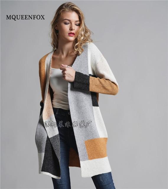 9a17c9404fd6 2019 Winter Cardigan Sweater Fashion Women Long Sleeve Patchwork ...