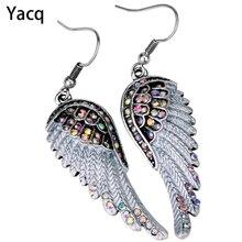 Angel wings dangle earrings antique gold silver color W crystal women girls biker bling jewelry gift