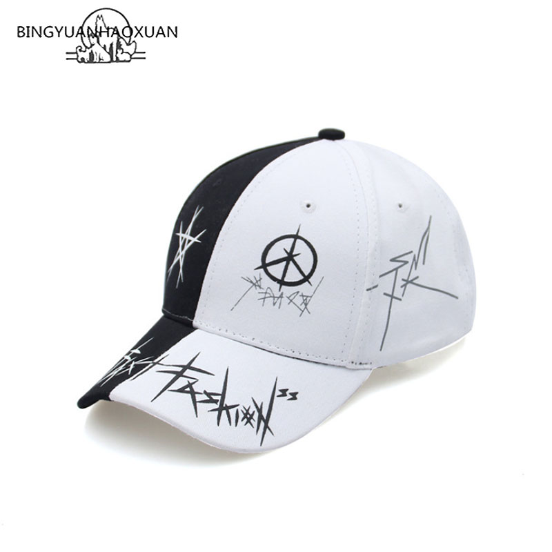 BINGYUANHAOXUAN Custom Graffiti Snapback   Baseball     Caps   Black and White Patchwork Men Women Hip Hop   Cap   Fashion Casual Hat