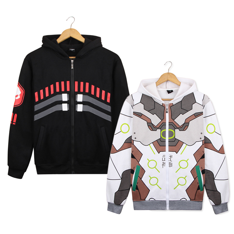 Game OW Genji Reaper Gabriel Reyes Hooded Hoodie Cosplay Costumes Daily Casual Cartoon Jacket Men &  Women Sweatshirt