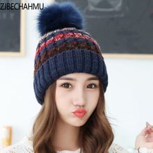 2017 women hats the hundreds Brand New High-Quality winter mink The Ball ski rabbit fur hat pom poms knitted made of