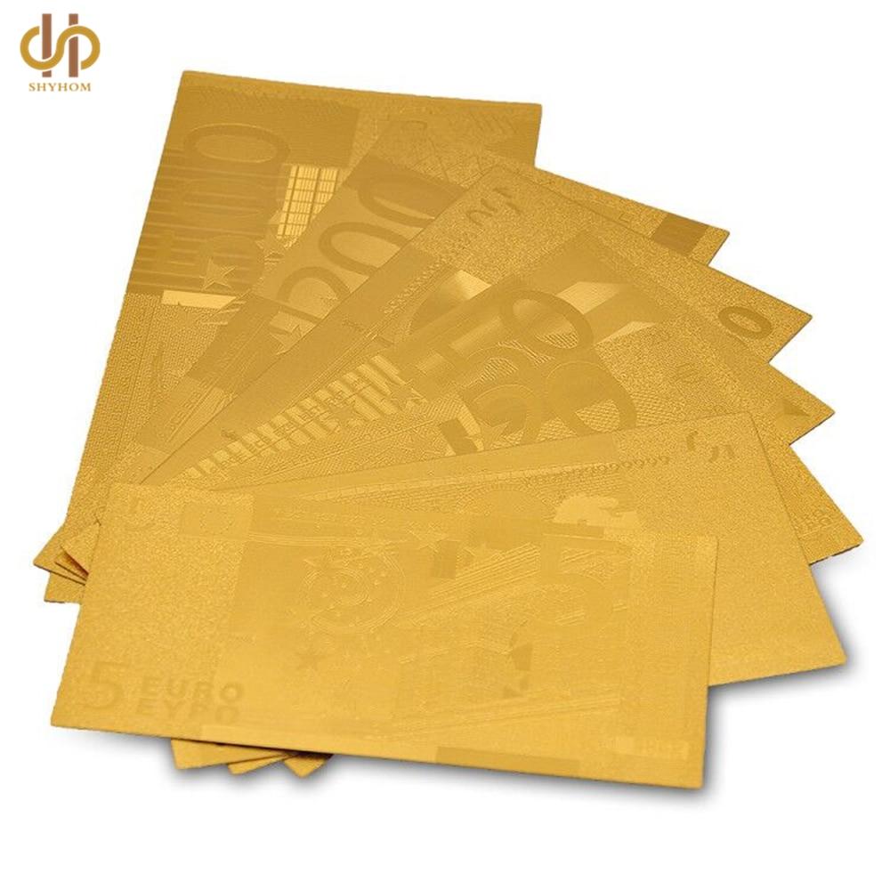 Full Sets 24K Gold Euro 5.10.20.50.100.200.500 Gold Foil Banknote Collection 7pcs/lot