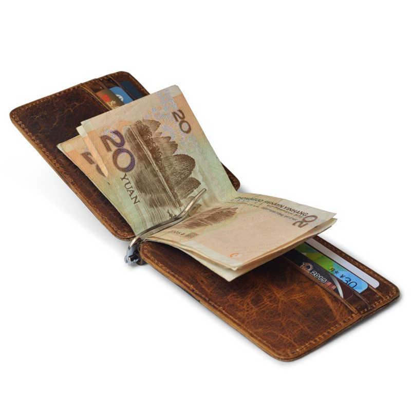 Оптовая продажа кожаный зажим для денег, металлический кошелек для мужчин, тонкий складной зажим для денег, кредитные зажимы, бумажники для банкнот, Новинка
