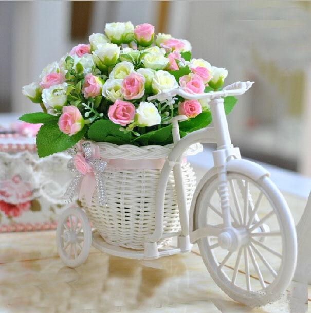 tienda online nueva llegada flores en macetas rosas serie florero de mimbre vintage decoracin casera romntica otoo pequeo rbol de la bola