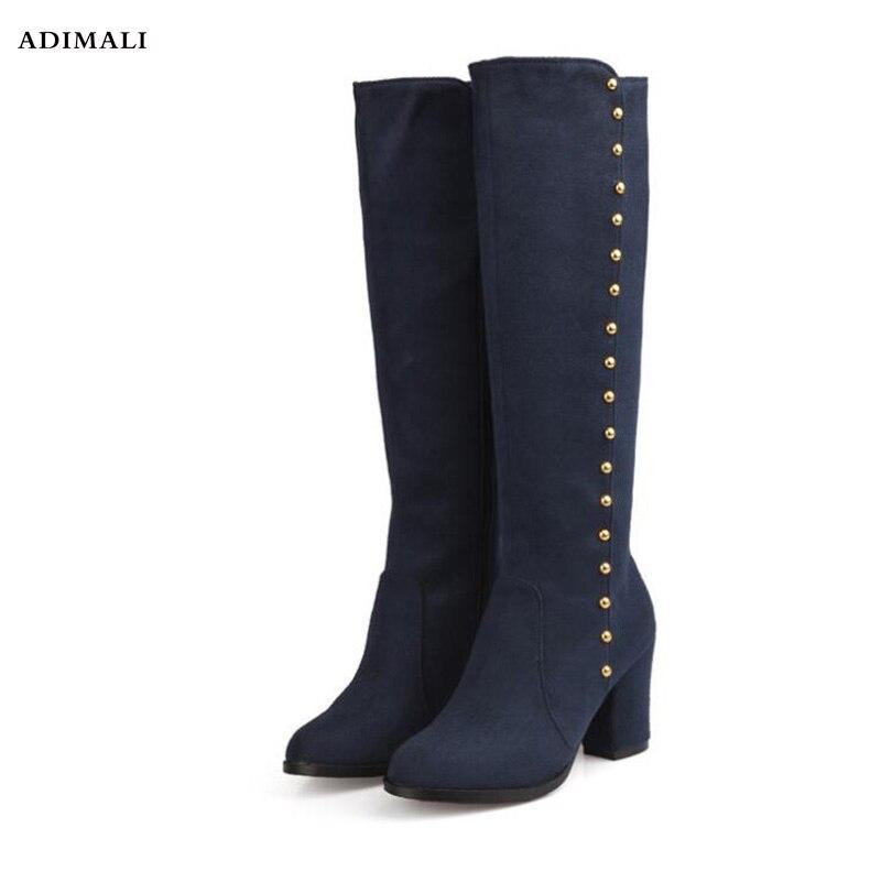 Модные женские зимние сапоги до бедра, Новые однотонные ковбойские и кожаные женские ботфорты на высоком каблуке, большие размеры 34-43, высок...