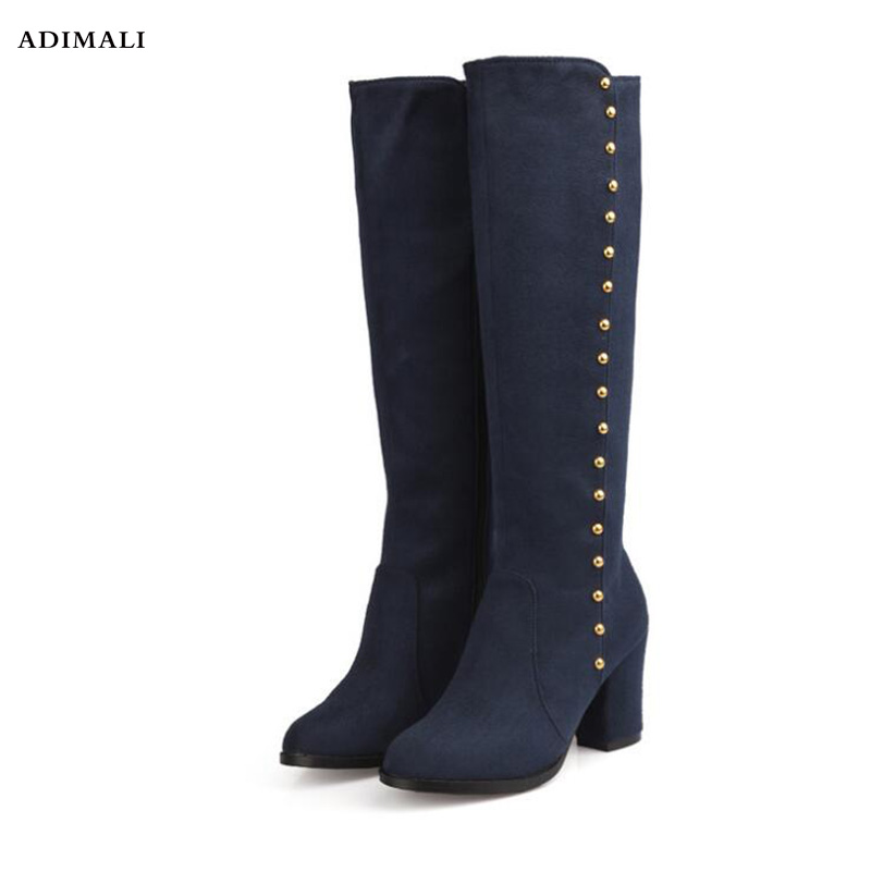 Fashion Female Winter Thigh High Boots New Solid Cowboy+Leather High Heels Women Over The Knee Shoes Plus Size 34-43 Long Boots plus size 34 43 winter autumn women soft leather knot low heels lovely knee high boots 3colors pink ladies fashion female shoes