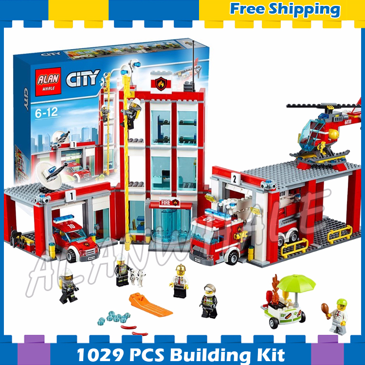 958pcs New <font><b>City</b></font> <font><b>Fire</b></font> <font><b>Station</b></font> Truck Firefighter Helicopter 10831 Model Building Blocks Children Gifts Sets Compatible With <font><b>Lego</b></font> image
