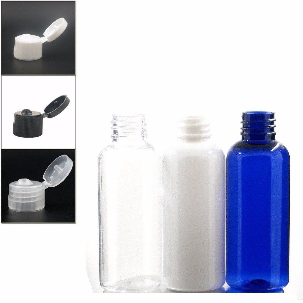 50ml Empty Round  Plastic Bottles, Blue/white/clear PET Bottle With Black/transparent/white Flit Top Cap Plastic Bottle X 5