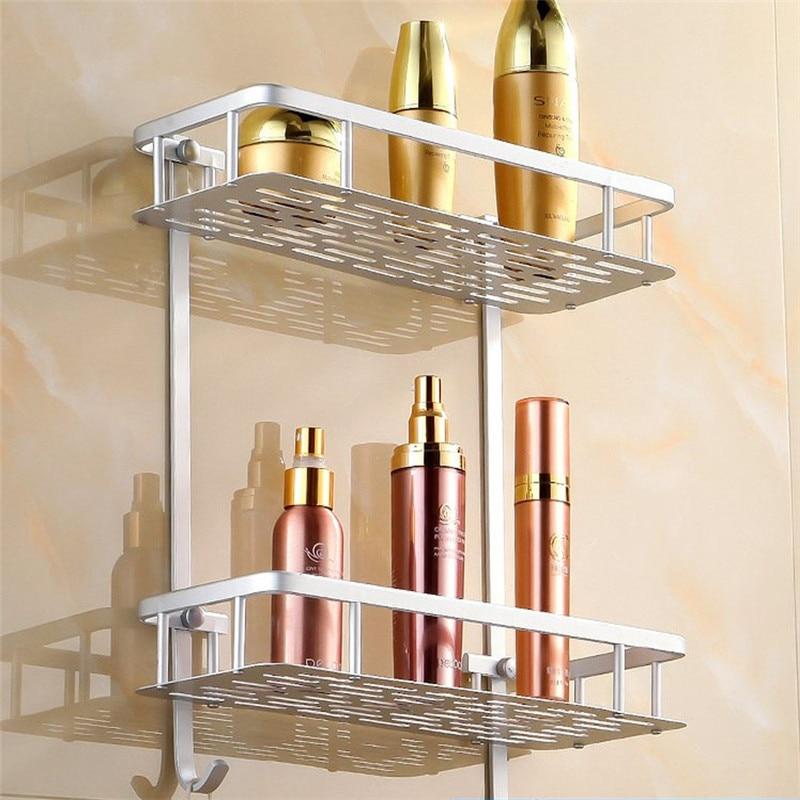 Kitchen Wall Mounted Shelves: Dual Layer Bathroom Shelf Basket Kitchen Bathroom Shelf