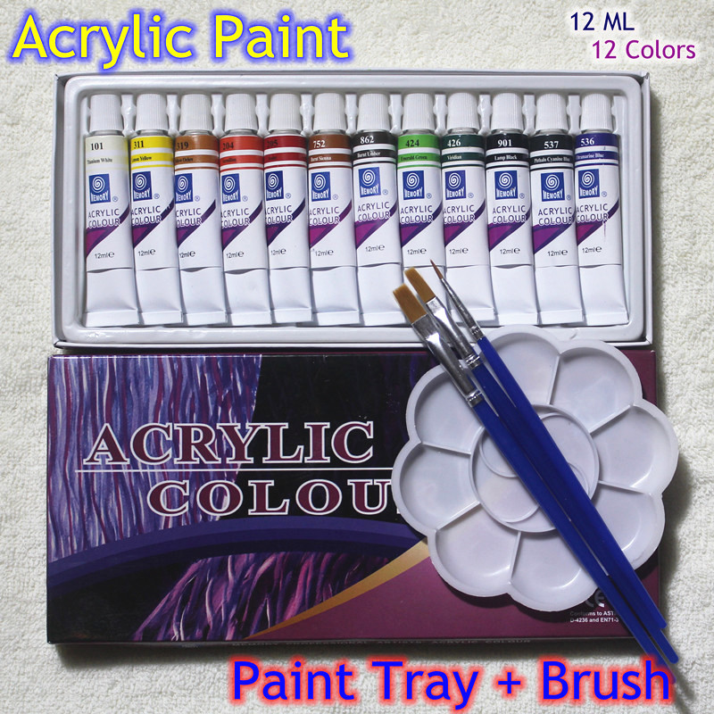 High Quality Acrylic Paints Tube Set Nail Art Painting Drawing Tool For The Artists 12ML 12 Colors Free For Brush And Paint Tray