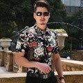 2016 Новый летний мужская мода цветочные печатный коротким рукавом цветы рубашка