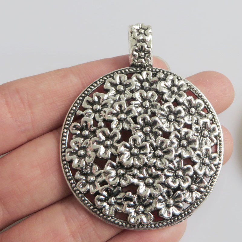 5 Pcs Large Tibetan Silver Tone Flower Round Charms Pendants for Necklace Jewellery Making Findings 45mm