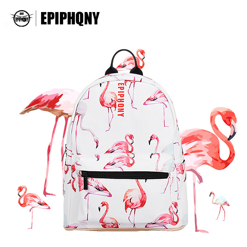 Epiphqny Famous Brand Animal Bird Printing Backpack Women PU Leather School Bagpack Bag Flamingo Fashion Lady Backpack vieline genuine leather women backpack famous brand lady leather backpack leather school bag free shipping
