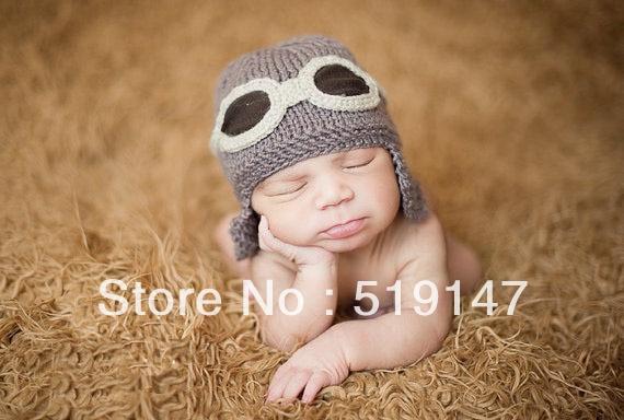 Free shipping Cute 2 style pilot hat baby hat handmade crochet photography  props newborn baby cap cea87d6d910