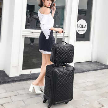 """TRAVEL TALE 20\""""inch women spinner leather retro trolley bag 24 travel suitcase hand luggage set"""