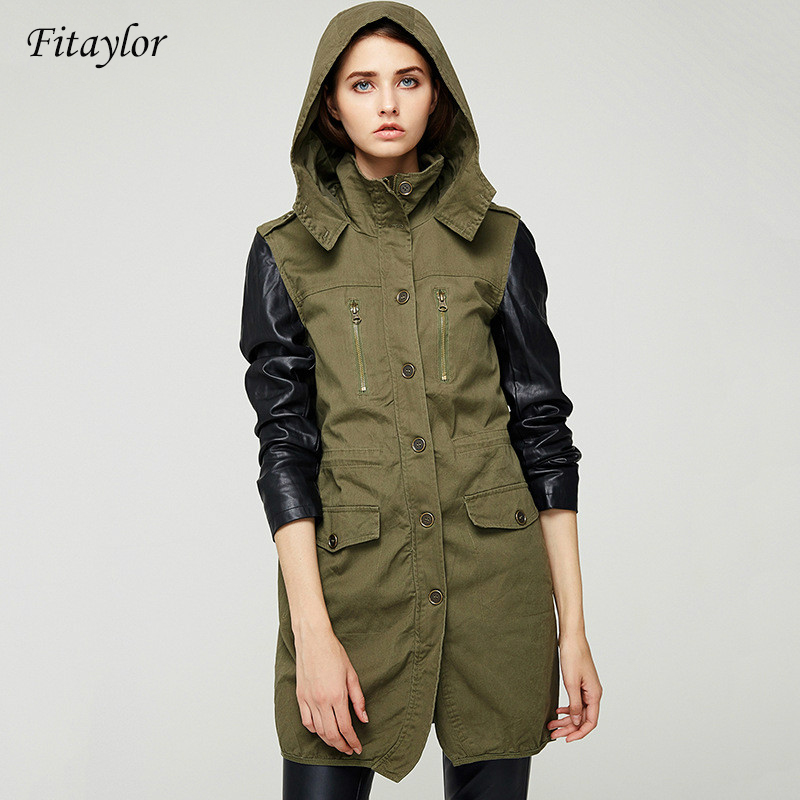 Fitaylor Spring New Patchwork   Leather   Jacket Women Casual hooded Long sleeves Medium length jacket coat