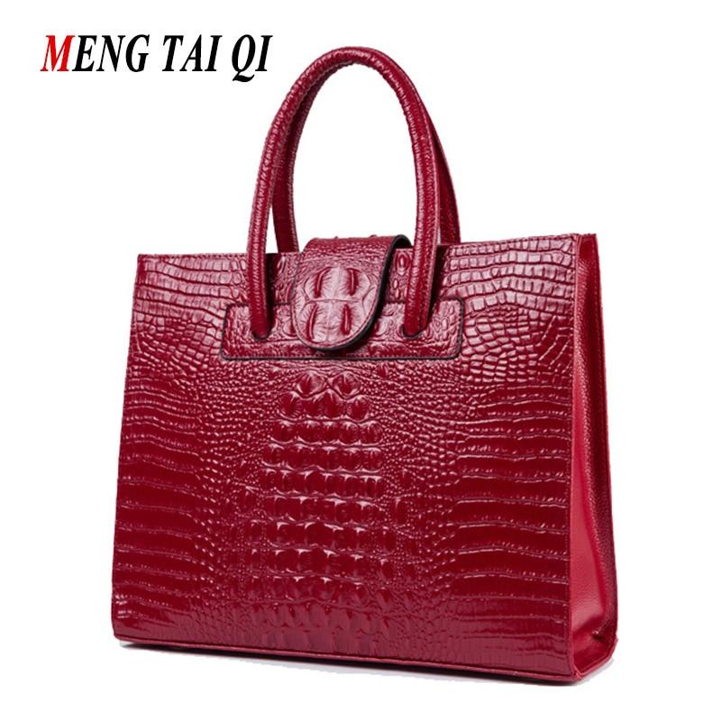 ФОТО Genuine Leather Bags Luxury Handbags Women Bags Designer Brand Crocodile Pattern Big Women Messenger Bags Vintage Shoulder Bag 3