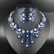 0e21943e16f6 Aliexpress.com   Buy 2018 new fashion luxury retro palace blue flowers  zircon necklace earring set