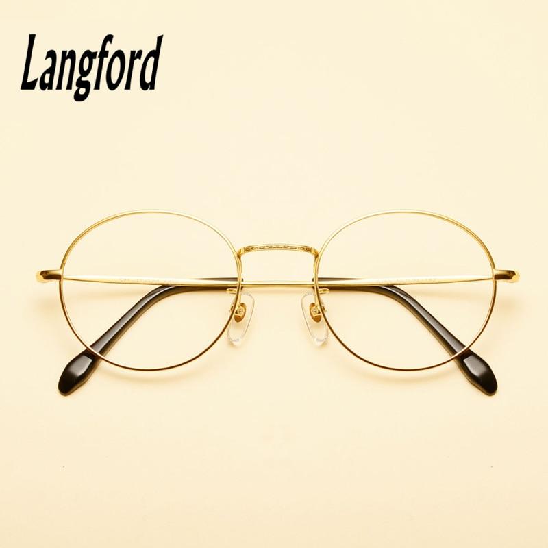 bbdaabeabc langford brand optical frames pure titanium round eyeglasses frame gold  eyeware Vintage spectacle prescription glasse8288-in Eyewear Frames from  Apparel ...