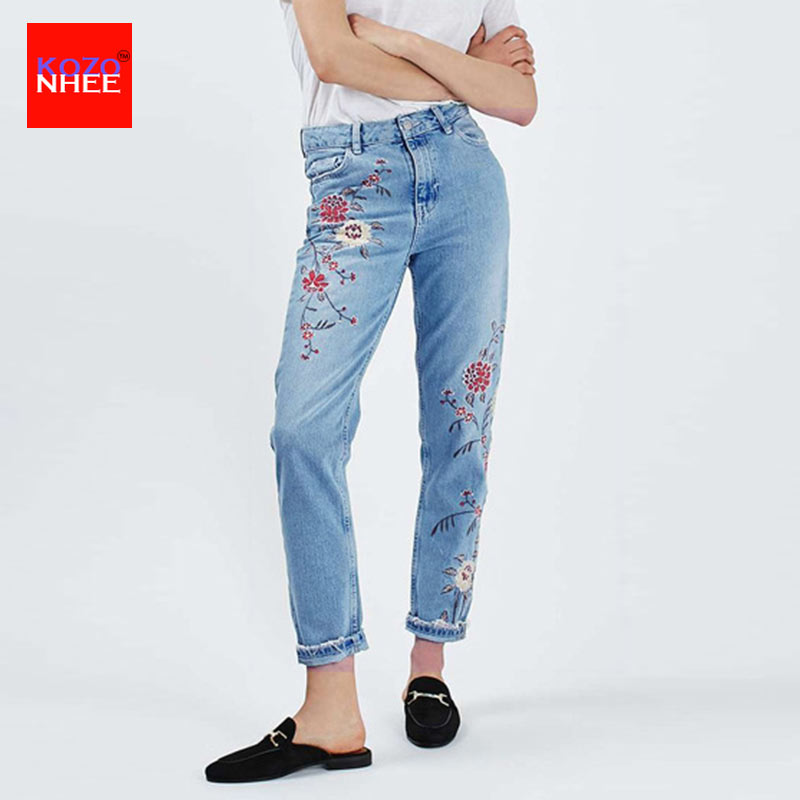 Loose Women High Waist   Jeans   Embroidery   Jeans   Plus Size Wash Straight   Jeans   femme Ladies Denim Pants Casual Fashion