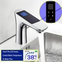 JMKWS бортике ЖК дисплей цифровой Дисплей смеситель Сенсорный экран термостатический Ванная комната один кран хром латунь Смесители для умыв
