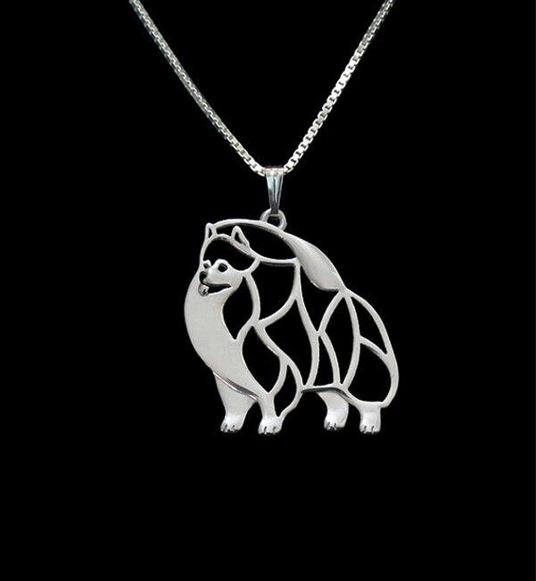 Hot Sale 10pcs Pomeranian Necklace Cut Out Dainty Pendant Puppy Dog Lover Memorial Pet Necklaces Pendants Women Charms
