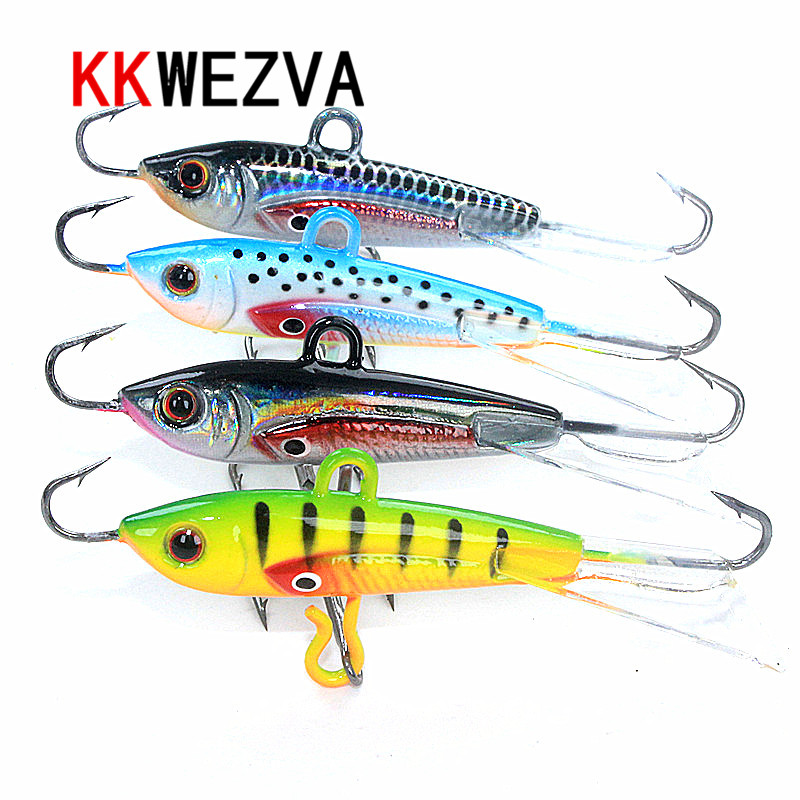KKWEZVA 4pcs 60mm 10g Fishing Lure winter Ice Fishing Hard Bait Minnow Pesca Tackle Isca Artificial Bait Crankbait Swimbait