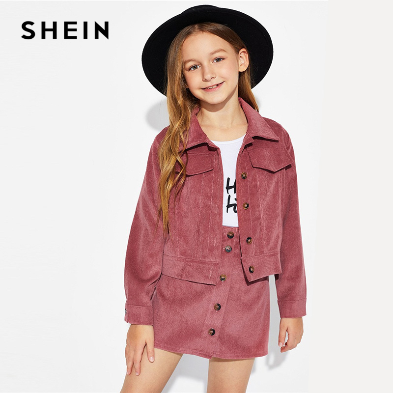 SHEIN Kiddie Rust Button Corduroy Jacket And Skirt Girls Clothing Two Piece Set 2019 Spring Long Sleeve Pocket Teenage Clothes rounded collar shimmer jacket and skirt set