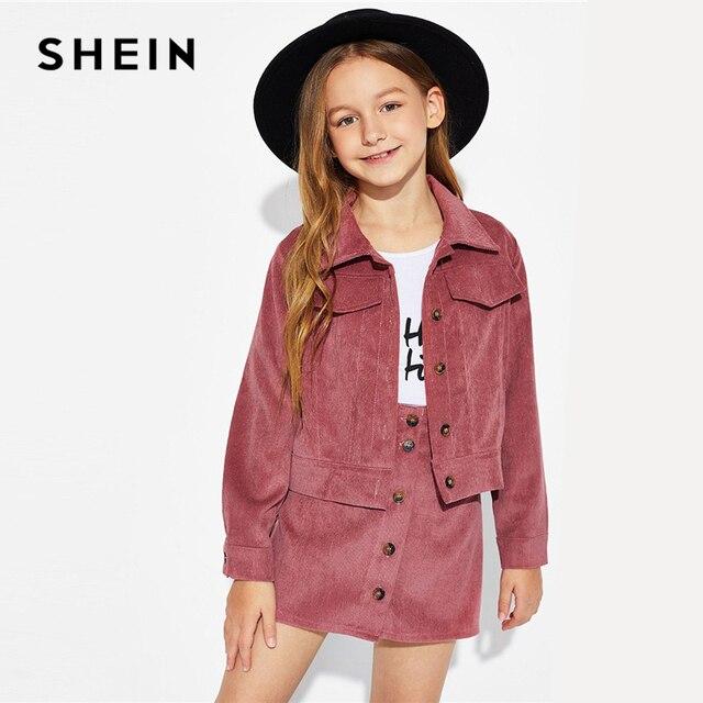 SHEIN Kiddie/Вельветовая куртка на пуговицах с ржавчиной и юбка; Одежда для девочек; комплект из двух предметов; коллекция 2019 года; весенняя одежда с длинными рукавами и карманами для подростков