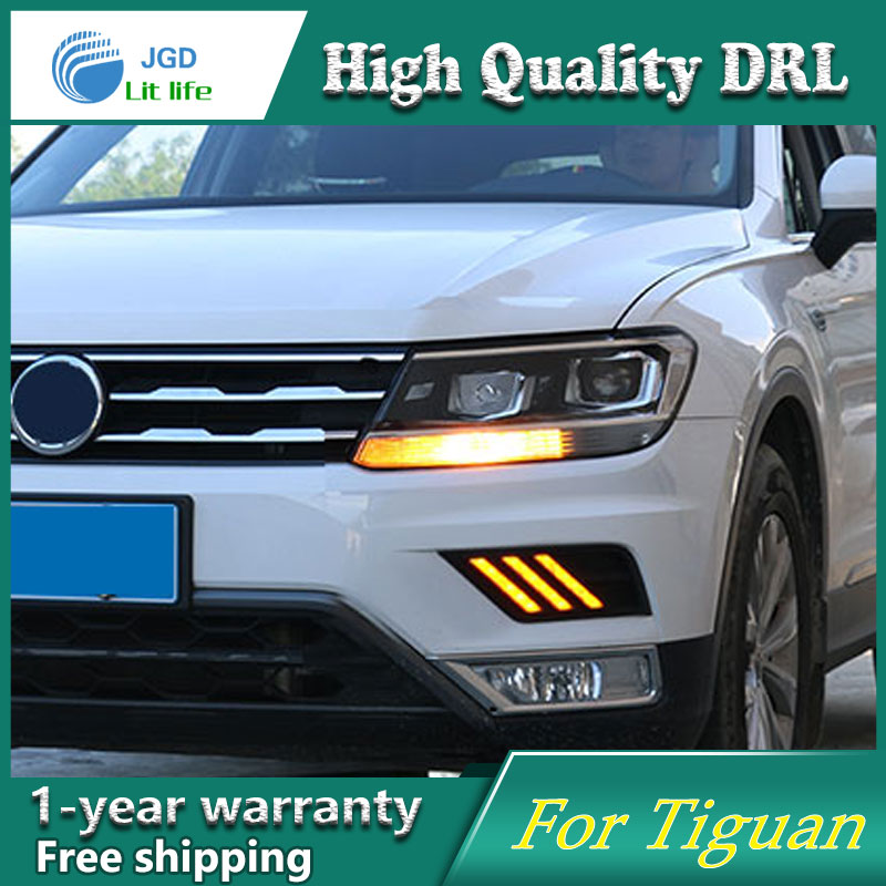Free shipping ! 12V 6000k LED DRL Daytime running light case for VW Tiguan 2017 fog lamp frame Fog light Car styling free shipping 12v 6000k led drl daytime running light case for subaru wrx 2015 2016 fog lamp frame fog light car styling