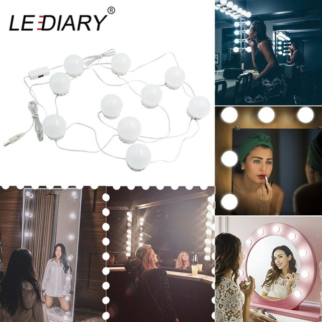 LEDIARY Dressing Table Lamp Hollywood Style Makeup Mirror LED Night Lights Decor 4000K Dimmable 10 Bulbs Distance Adjustable