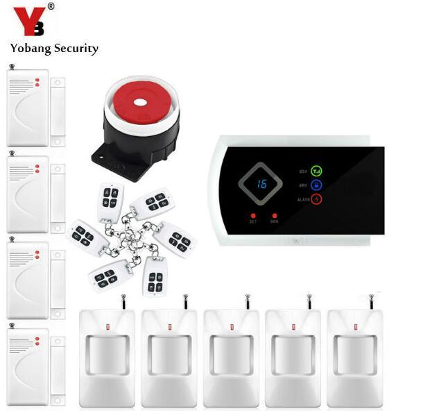 Yobang Sécurité Anglais Russe Voix Accueil Alarme APP GSM système d'alarme 99 zones sans fil Sans Fil Filaire Maison D'alarme maison intelligente