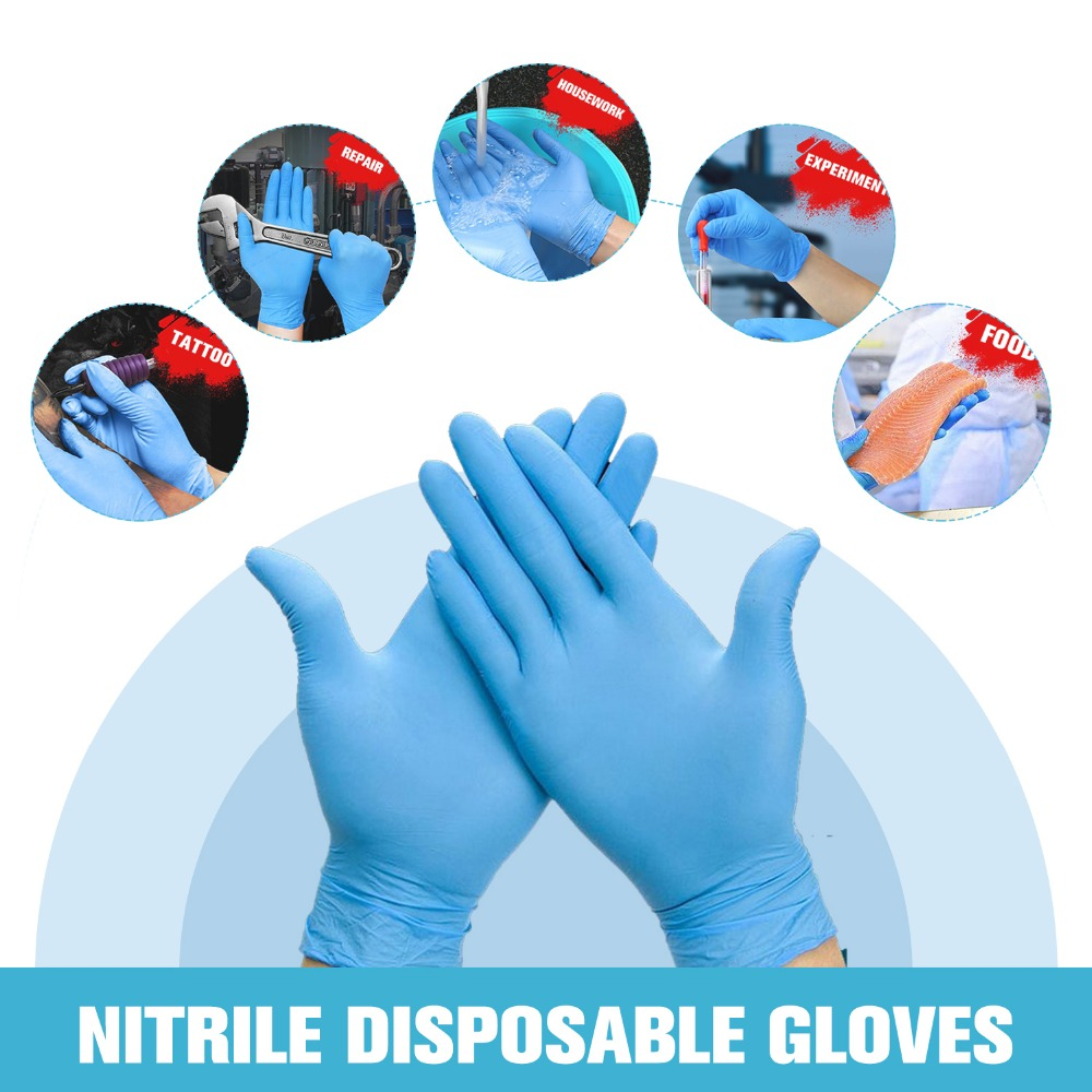 100pcs/box Blue Nitrile Disposable Gloves Wear Resistance Chemical Laboratory Electronics Food Medical Testing Work Gloves 50pcs pack purple disposable nitrile gloves 9 length for dentist medical use food process tattoo protective gloves