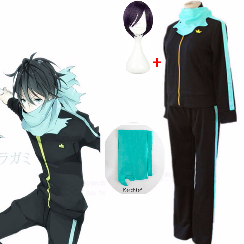 Anime Noragami Yato Cosplay Wig And Costume Halloween Party Free Shipping (Jackets Pants Scarf Wig) High Quality Set Of Sportswe
